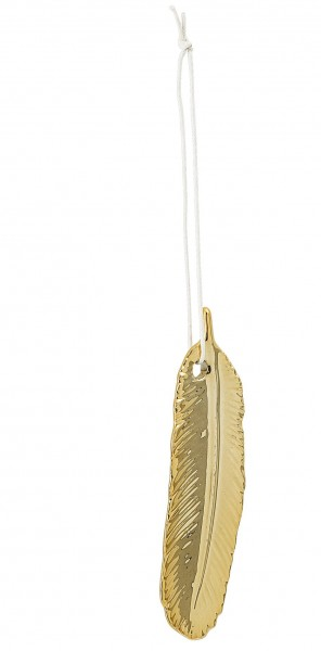 Feder aus Porzellan, gold