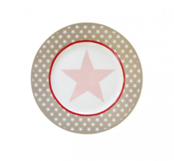 Happy Plate / Teller Taupe big star