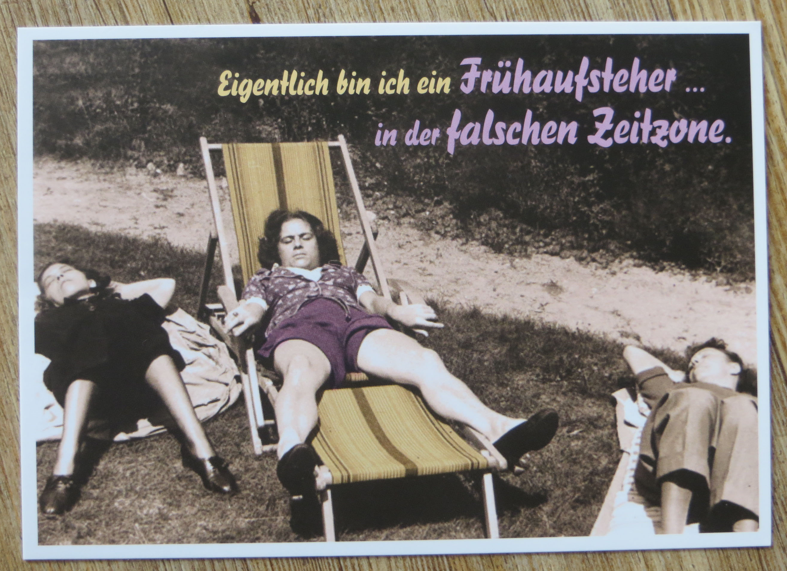 Nützlichgrusskarten - Postkarte Karte Eigentlich bin ich ein Frühaufsteher.... in der falschen Zeitzone.... Paloma - Onlineshop Tante Emmer