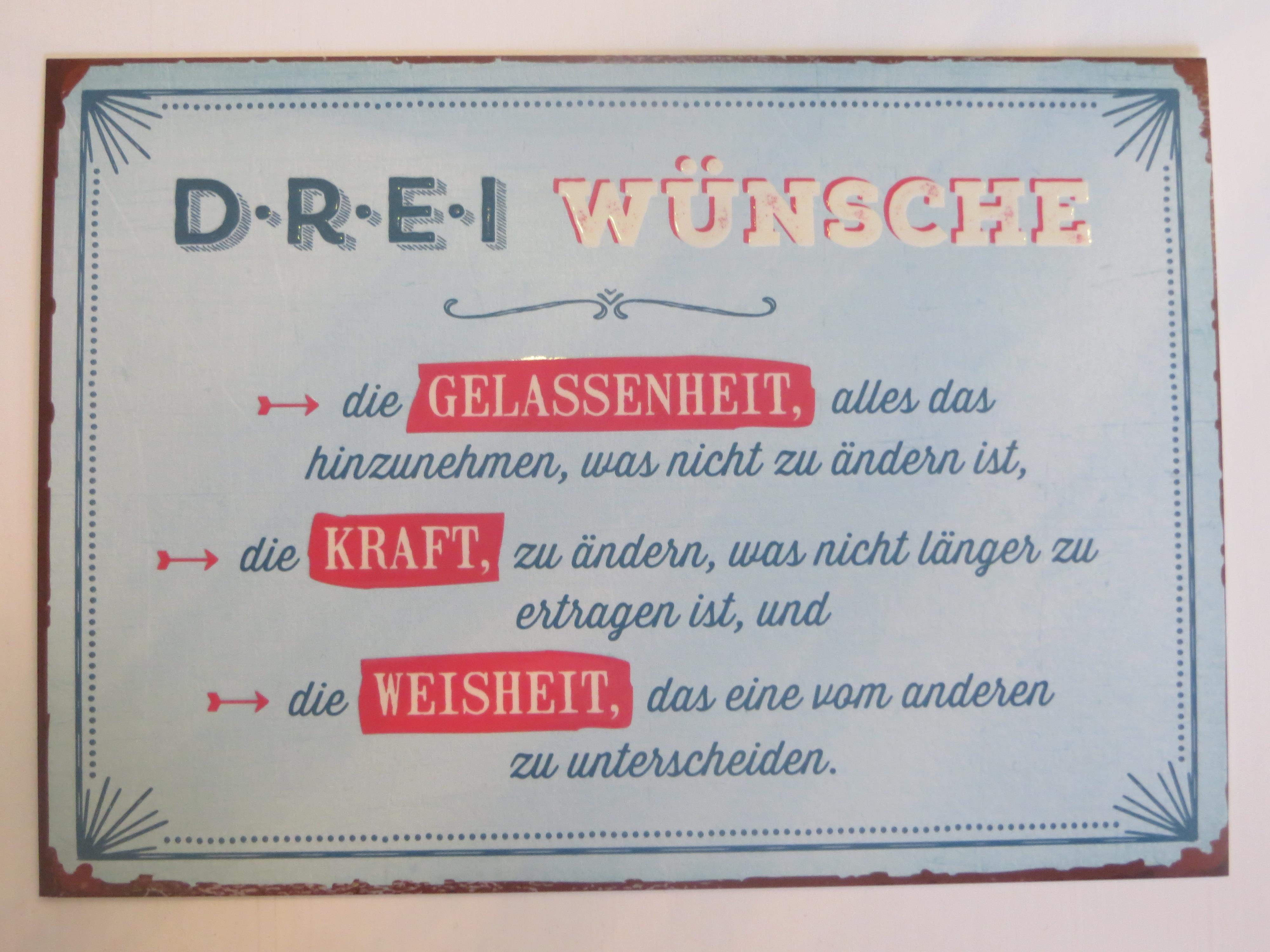 Postkarte Drei Wünsche die Gelassenheitdie Kraft