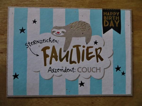 """Postkarte """"Sternzeichen: FAULTIER- Aszendent. COUCH"""" Kunst und Bild"""