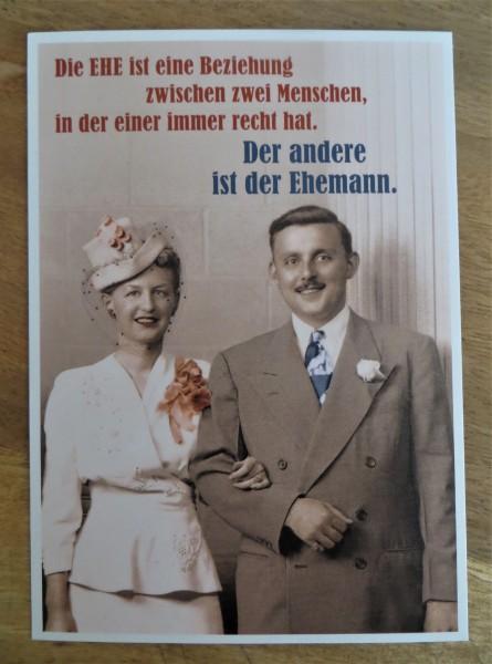 """Postkarte Karte """"Die EHE ist eine Beziehung zwischen zwei Menschen, in der einer immer..."""" Paloma"""