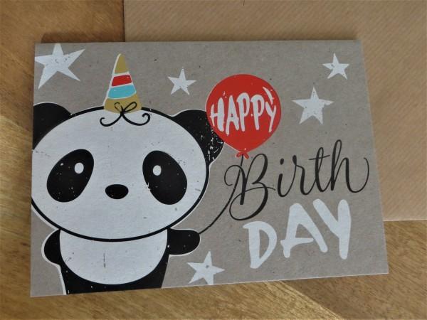 """Klappkarte / Umschlagkarte """"HAPPY BirthDAY"""" (Panda) KUNST und BILD"""