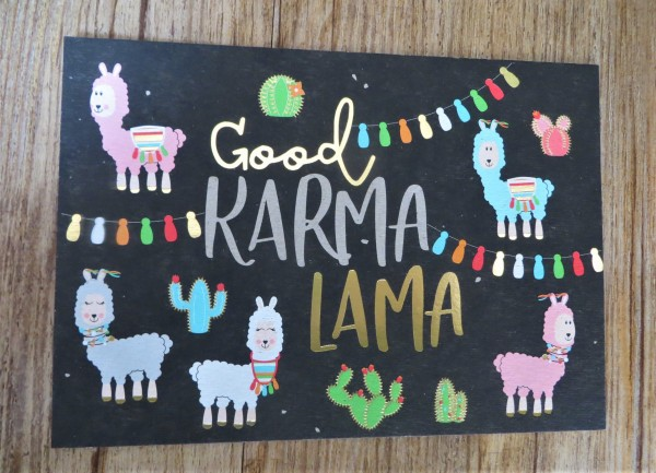"""Postkarte """"Good KARMA LAMA"""" Kunst und Bild"""