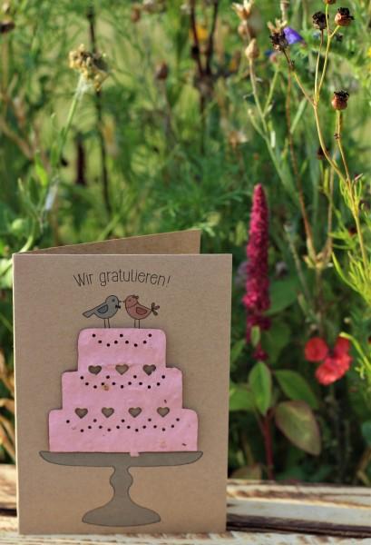 """Glückwunschkarte """"Wir gratulieren!"""", mit Wildblumen-Saatpapier"""