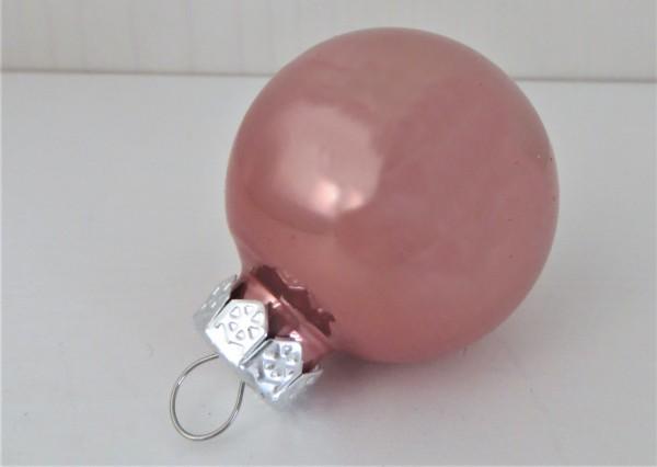 Christbaumschmuck Glaskugel rosa glänzend 35 mm, Farbton 2