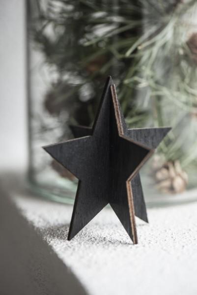 Stern aus Holz, schwarz, 9cm