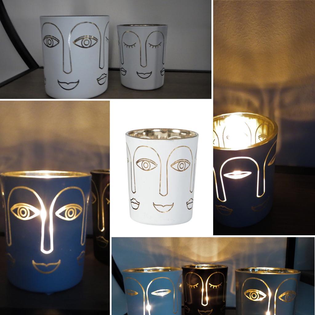 Nützlichdekoration - Glas Windlicht Gesicht Weiß Gold 7cm Speedtsberg - Onlineshop Tante Emmer