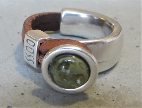 QOSS Fingerring GWEN braun-moosgrün XL