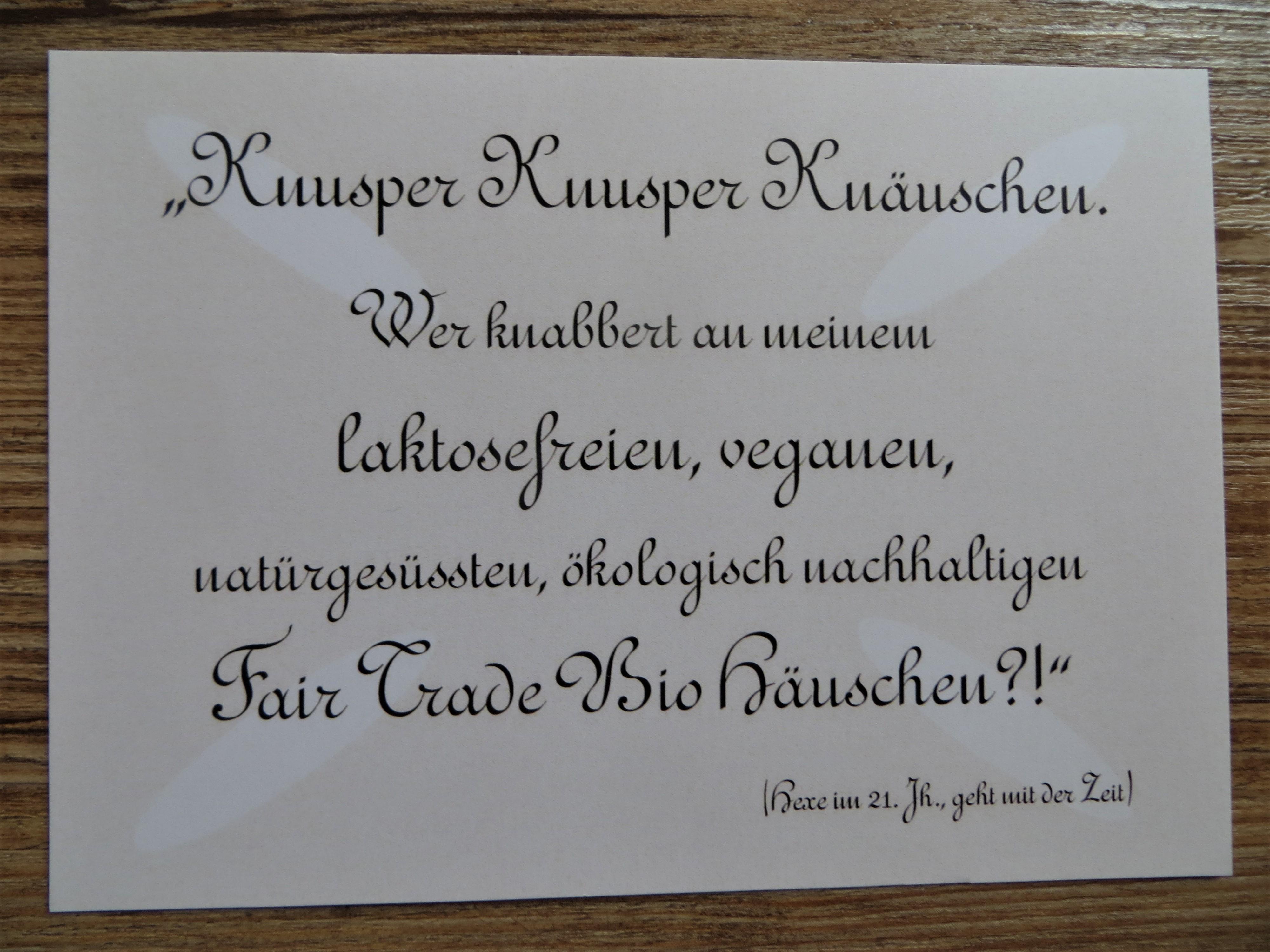 Nützlichgrusskarten - Karte Postkarte Knusper Knusper Knäuschen. - Onlineshop Tante Emmer