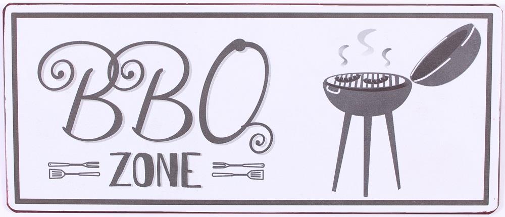 Metall Schild BBQ Zone