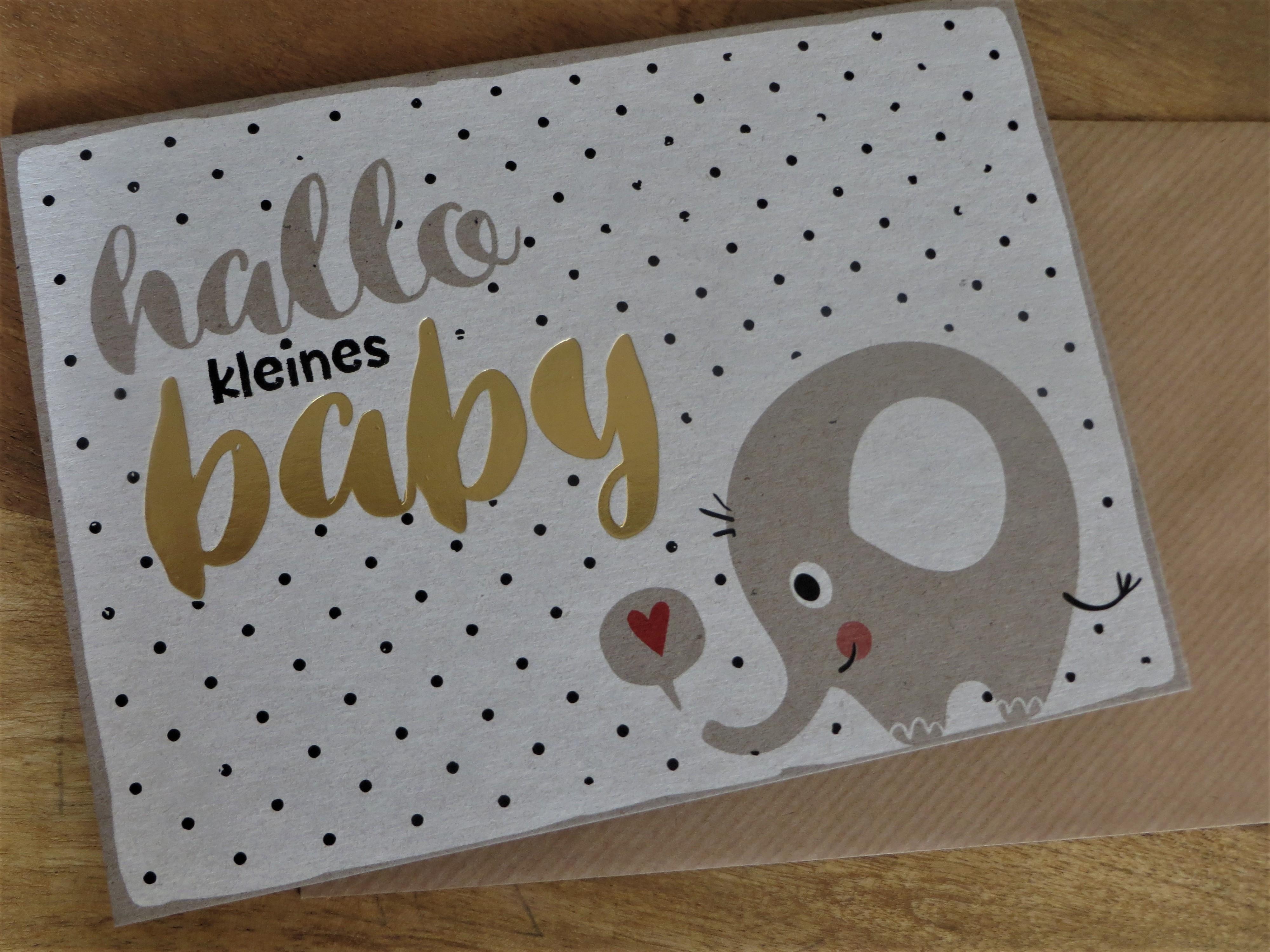 Nützlichgrusskarten - Klappkarte Umschlagkarte hallo kleines baby KUNST und BILD - Onlineshop Tante Emmer