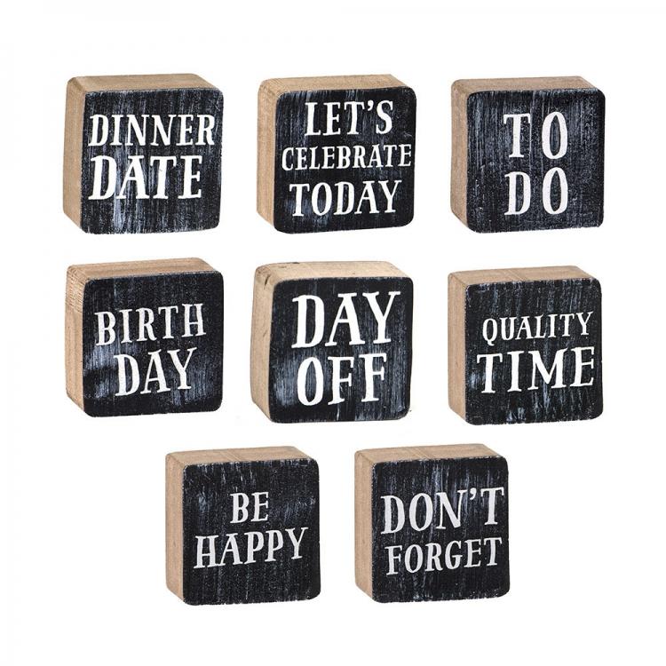 Holz Magnet quadratisch DINNER DATE schwarz