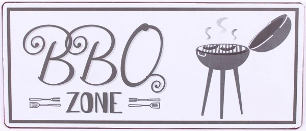 "Metall Schild ""BBQ Zone"""