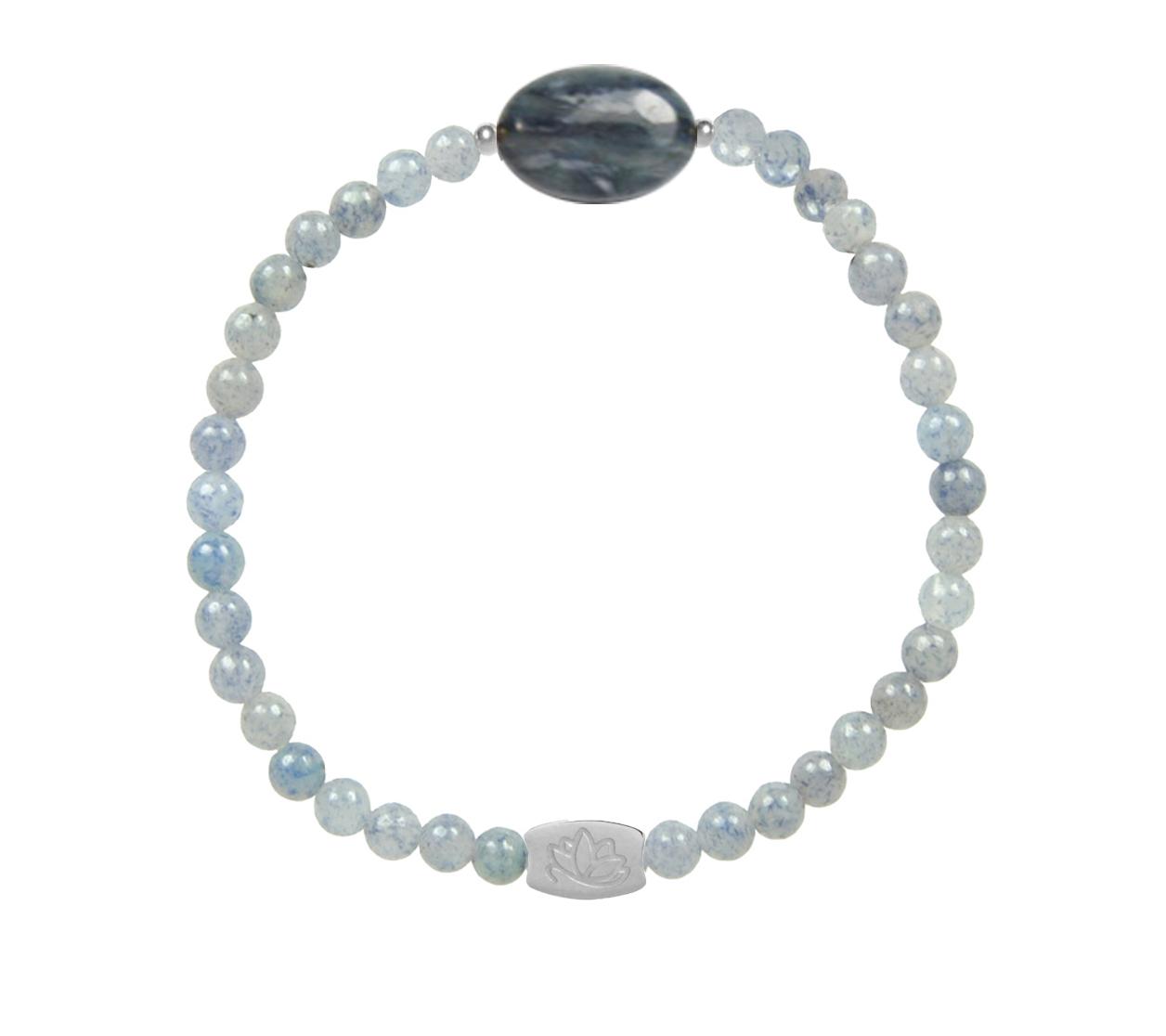 Armbaender für Frauen - MAS jewelz Armband Blauquartz 4mm mit ovalem Stein Blauquartz  - Onlineshop Tante Emmer