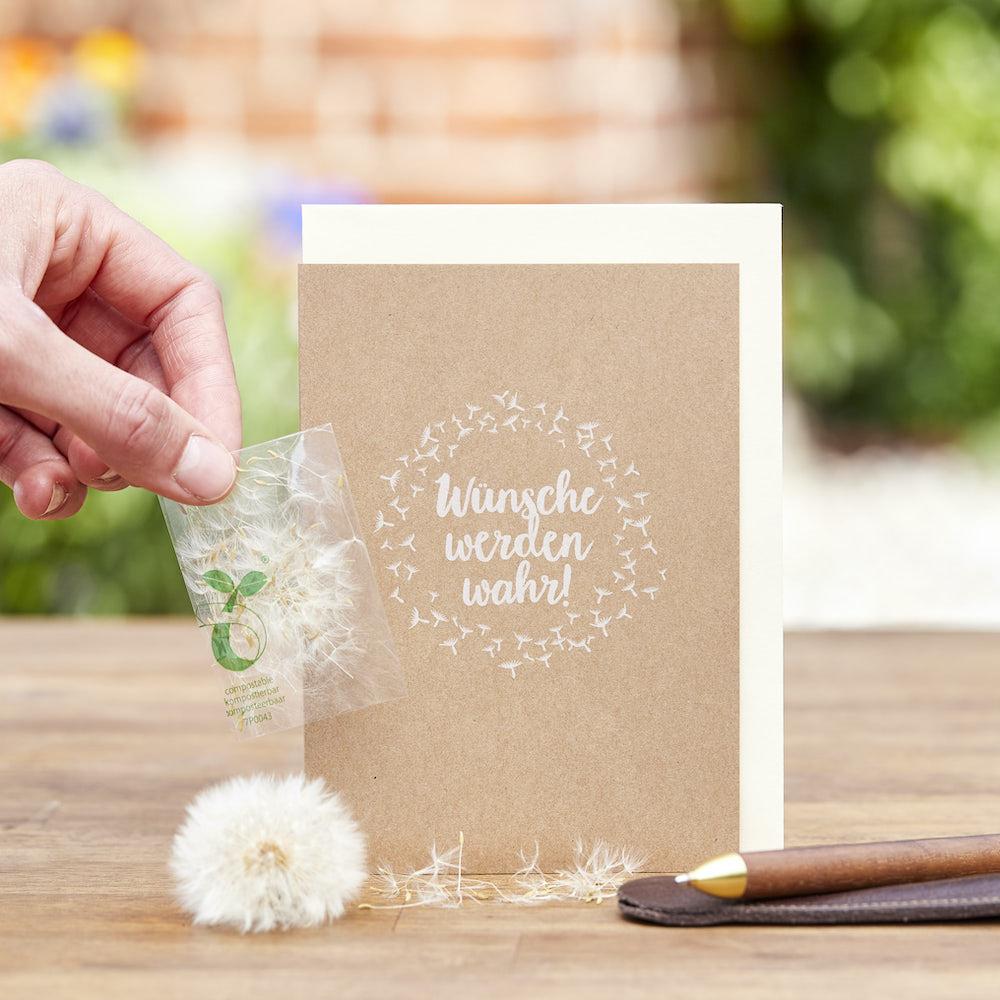 - Grußkarte Wunscherfüller Wünsche werden wahr mit einem Tütchen Pusteblumensamen - Onlineshop Tante Emmer