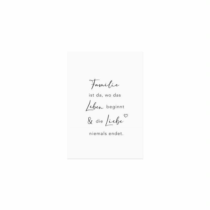 Nützlichgrusskarten - Postkarte Familie ist da wo das Leben beginnt die Liebe niemals endet. Eulenschnitt - Onlineshop Tante Emmer