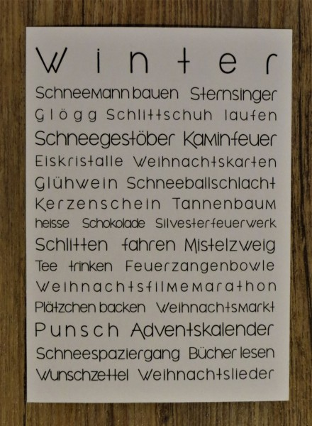 "Karte Postkarte ""To Do Liste WINTER"""
