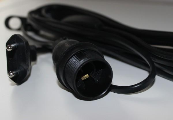 Stromkabel mit Fassung und Schalter, schwarz