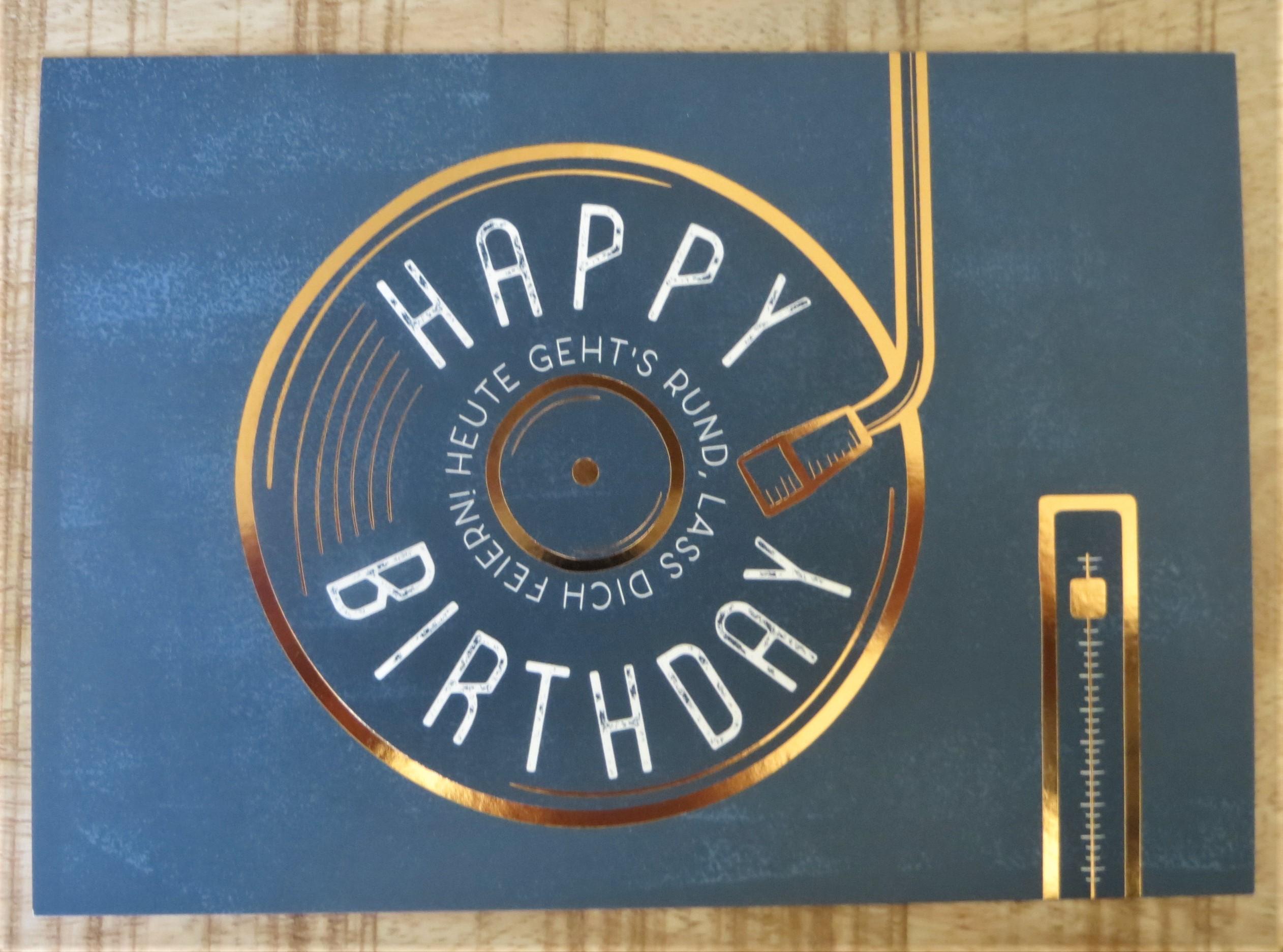 Nützlichgrusskarten - Postkarte Happy birthday Heute gehts rund lass dich feiern VintageArt - Onlineshop Tante Emmer