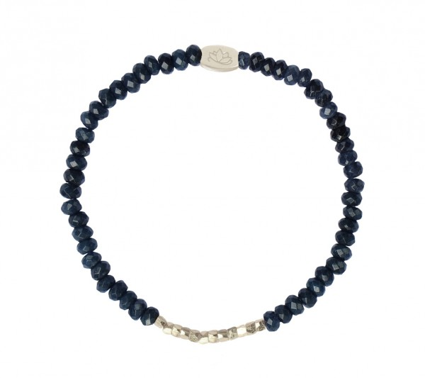 MAS jewelz Armband im Facettenschliff, Blauer Achat/ Silber