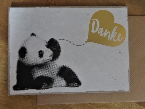 "Klappkarte / Umschlagkarte ""Danke"" (Panda) KUNST und BILD"