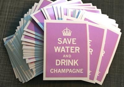 "Sticker / Aufkleber ""Save water and drink champagne"" La Finesse"