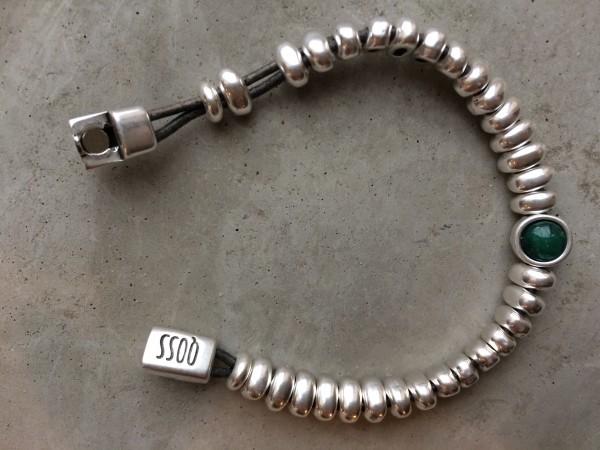 QOSS Armband LIV Silber-Smaragdgrün M