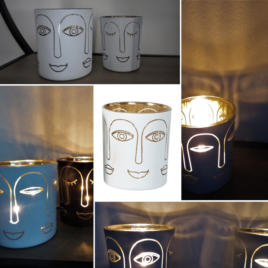 Nützlichdekoration - Glas Windlicht Gesicht Weiß Gold 8cm Speedtsberg - Onlineshop Tante Emmer