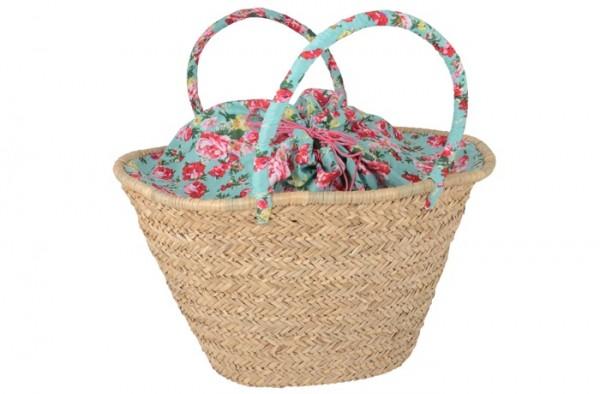 Korb/ Tasche türkis mit Blumen