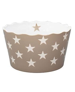 Schale / Schüssel ideal für Chips! medium in taupe mit weißen Sternen