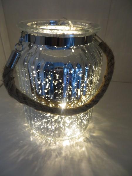 Windlicht mit Henkel aus Seil - Höhe 14,5 cm