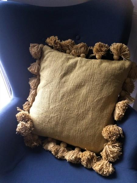 Kissen mit Bommeln, inkl. Inlet, Gelb, 45x45cm