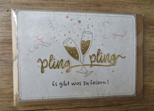 """Klappkarte / Umschlagkarte """"pling pling - Es gibt was zu Feiern!"""" KUNST und BILD"""