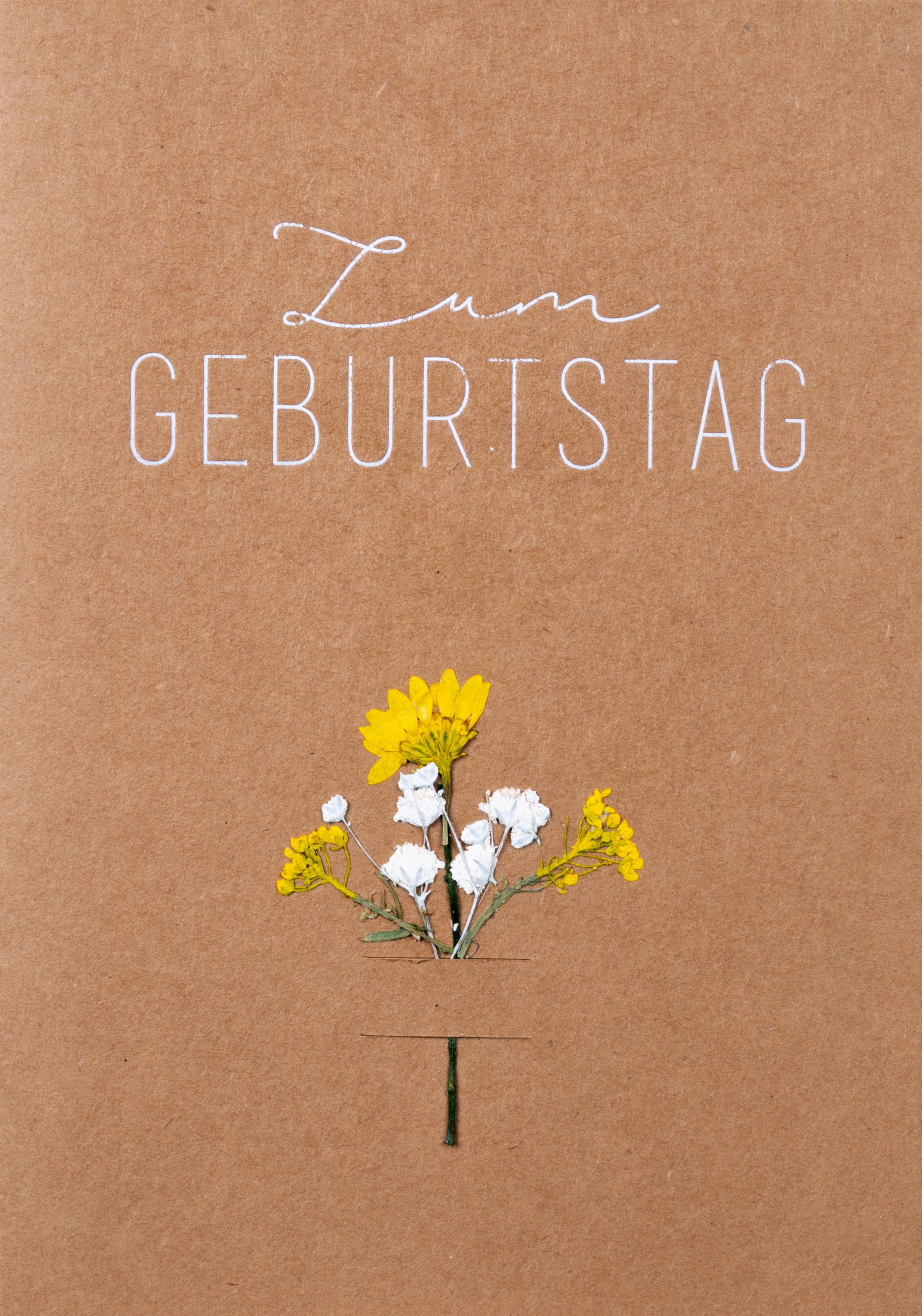 - Glückwunschkarte Zum Geburtstag mit echten Blüten räder - Onlineshop Tante Emmer