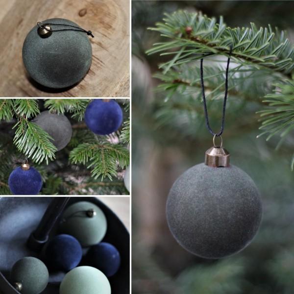 Weihnachtskugel Velours 6cm, Dunkelgrün, Speedtsberg