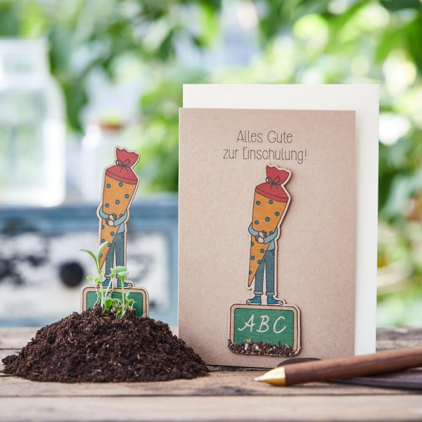 """Glückwunschkarte """"Alles Gute zur Einschulung"""", mit Wildblumen-Saatstecker"""