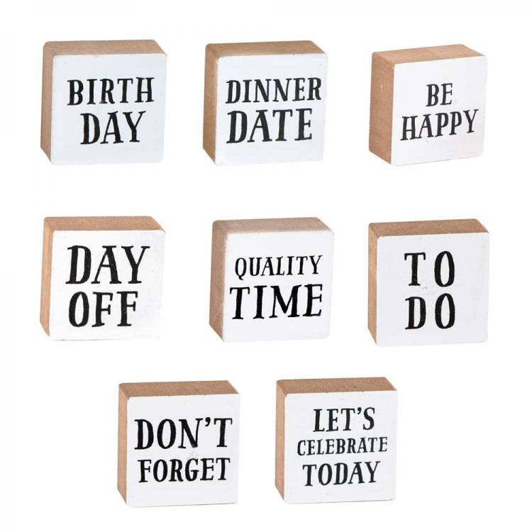 Holz Magnet quadratisch DINNER DATE weiß