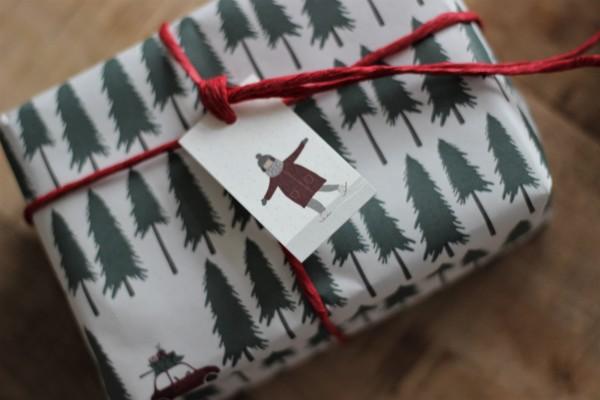 Weihnachts-Geschenkanhänger/ Karte - Schlittschuhläuferin - Ib Laursen
