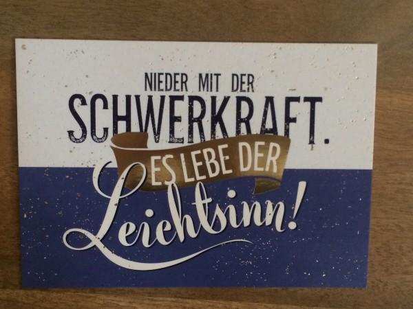 """Postkarte """"Nieder mit der Schwerkraft. Es lebe der Leichtsinn!* Vintage-Art"""