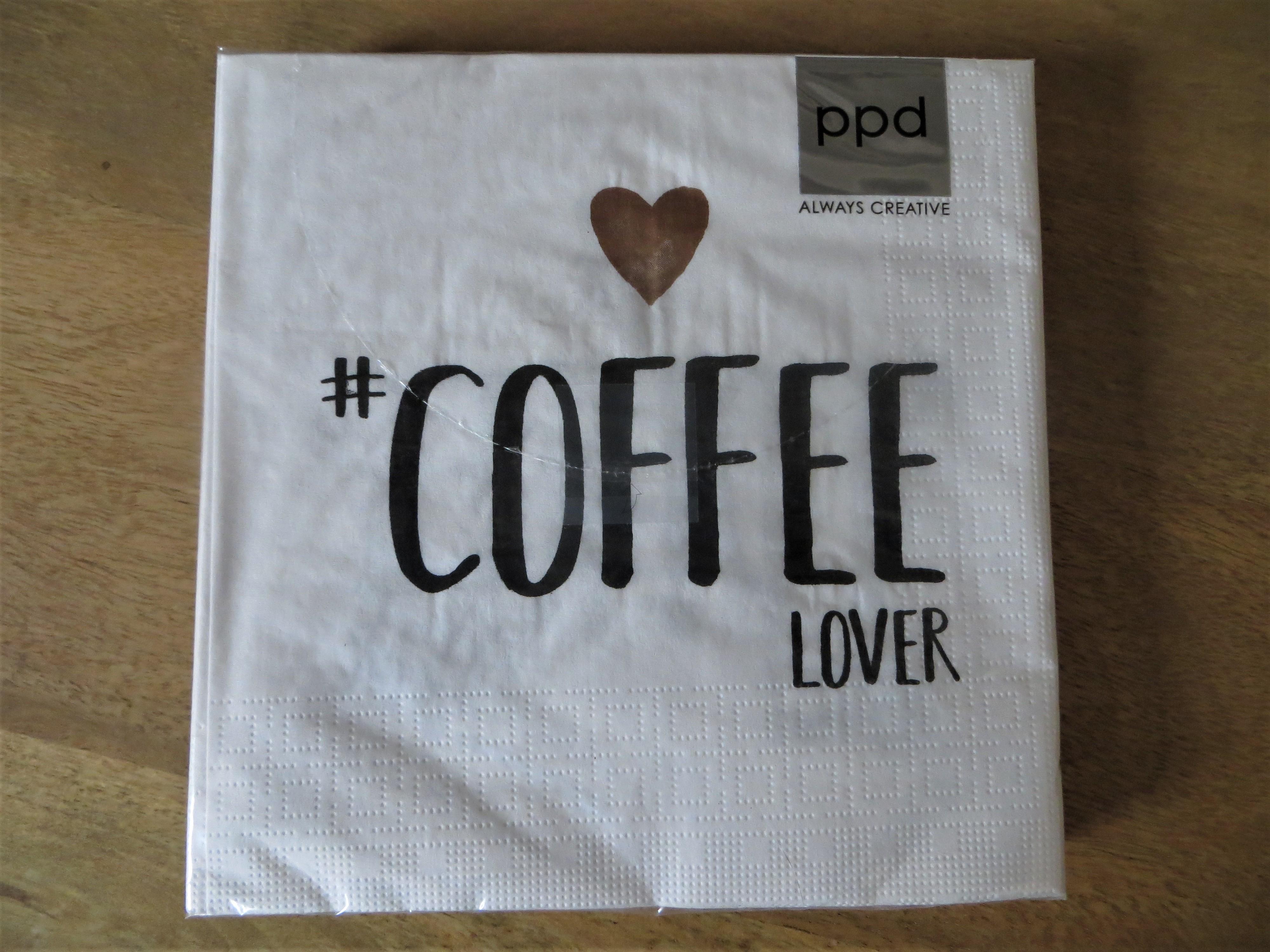Servietten schwarz weiß COFFEE LOVER 16x16 cm