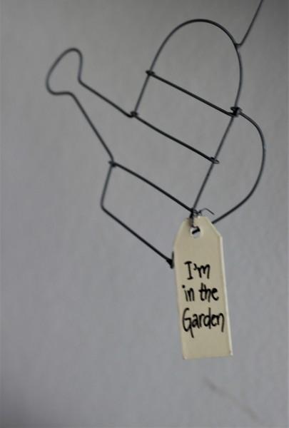 """Anhänger """"I´m in the Garden"""" mit Gießkanne aus Metall, 10x13cm"""