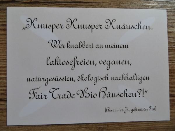 "Karte Postkarte ""Knusper Knusper Knäuschen."""