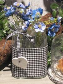 Flaschen/Vasen 4er mit Stoffmanschette, Schleife in schwarz