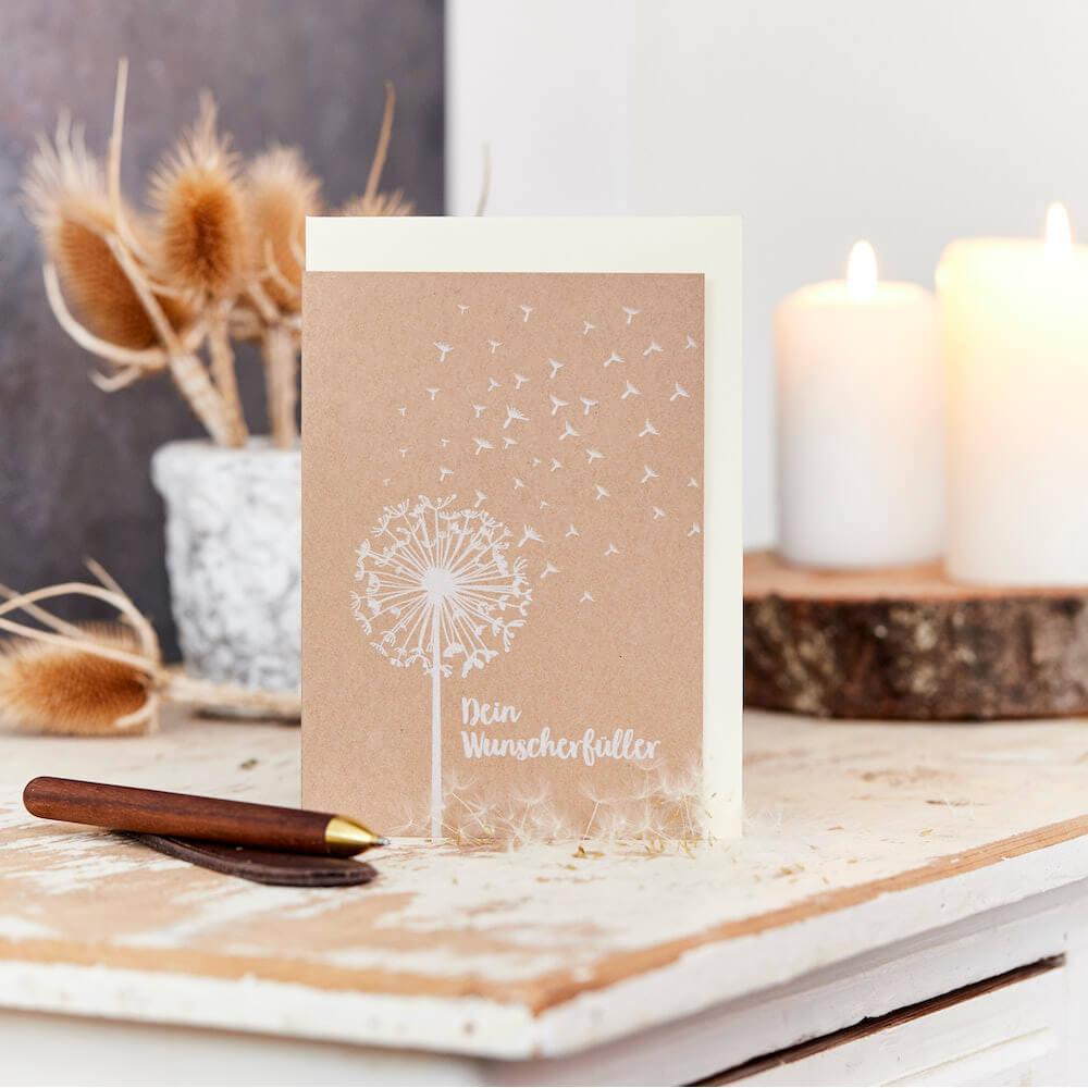 - Grußkarte Wunscherfüller Dein Wunscherfüller mit einem Tütchen Pusteblumensamen - Onlineshop Tante Emmer