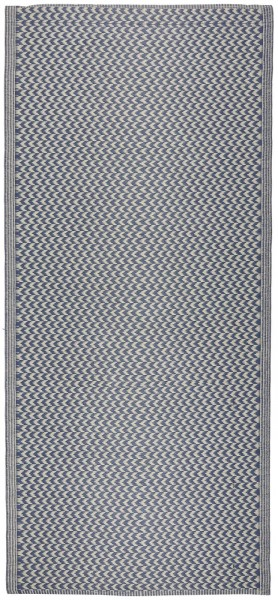 Teppich, gestreift, aus Recyclingplastik, blau-weiß, Ib Laursen