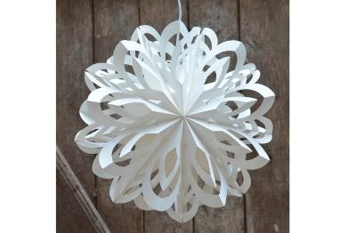 Weihnachtsstern Schneeflocke aus Papier weiß