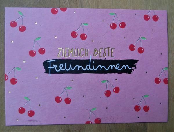 """Postkarte """"Ziemlich beste Freundinnen"""" KUNST und BILD"""