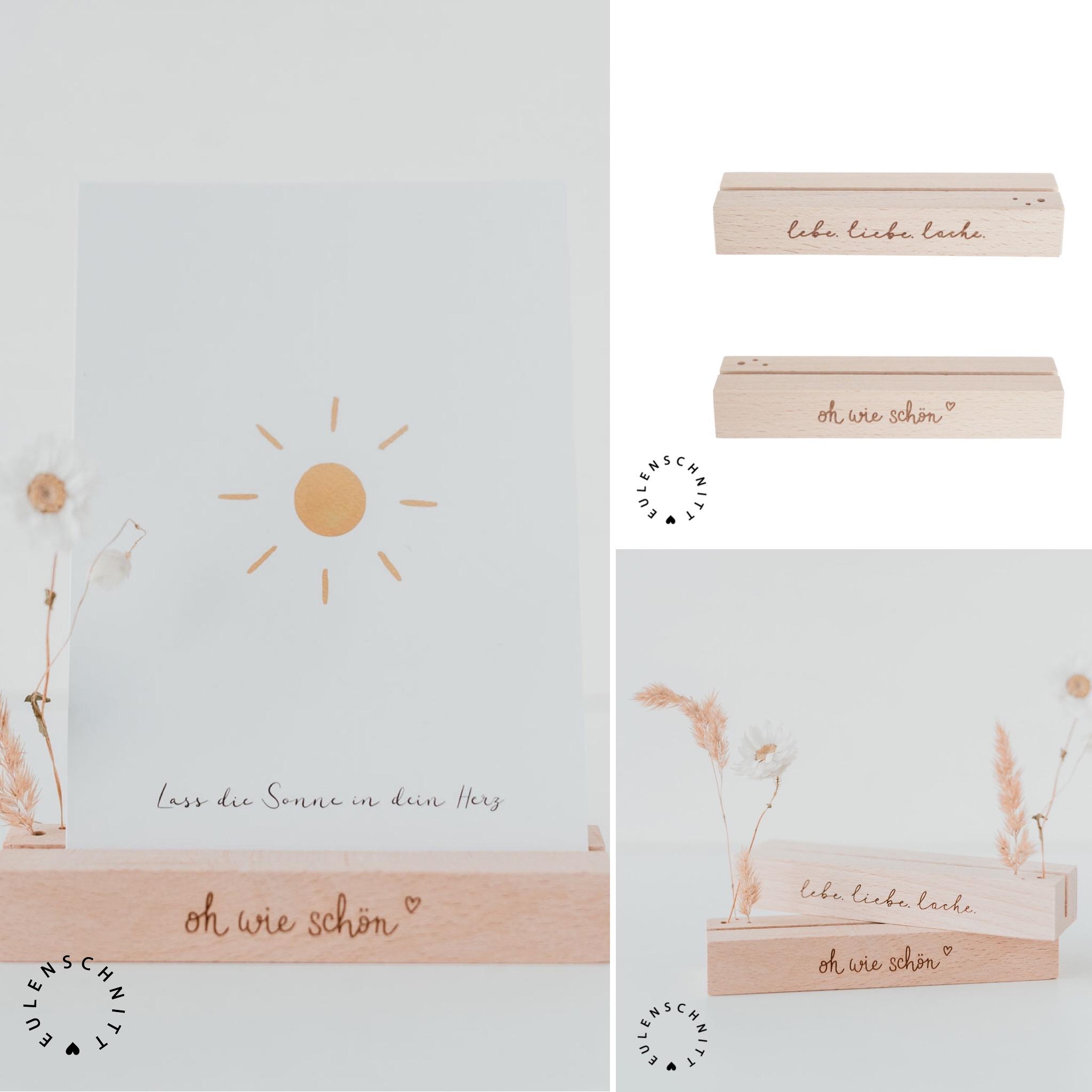 Nützlichwohnaccessoires - Kartenständer Blumenständer aus Holz oh wie schön7 lebe.liebe.lache. Natur 2er Set Eulenschn - Onlineshop Tante Emmer