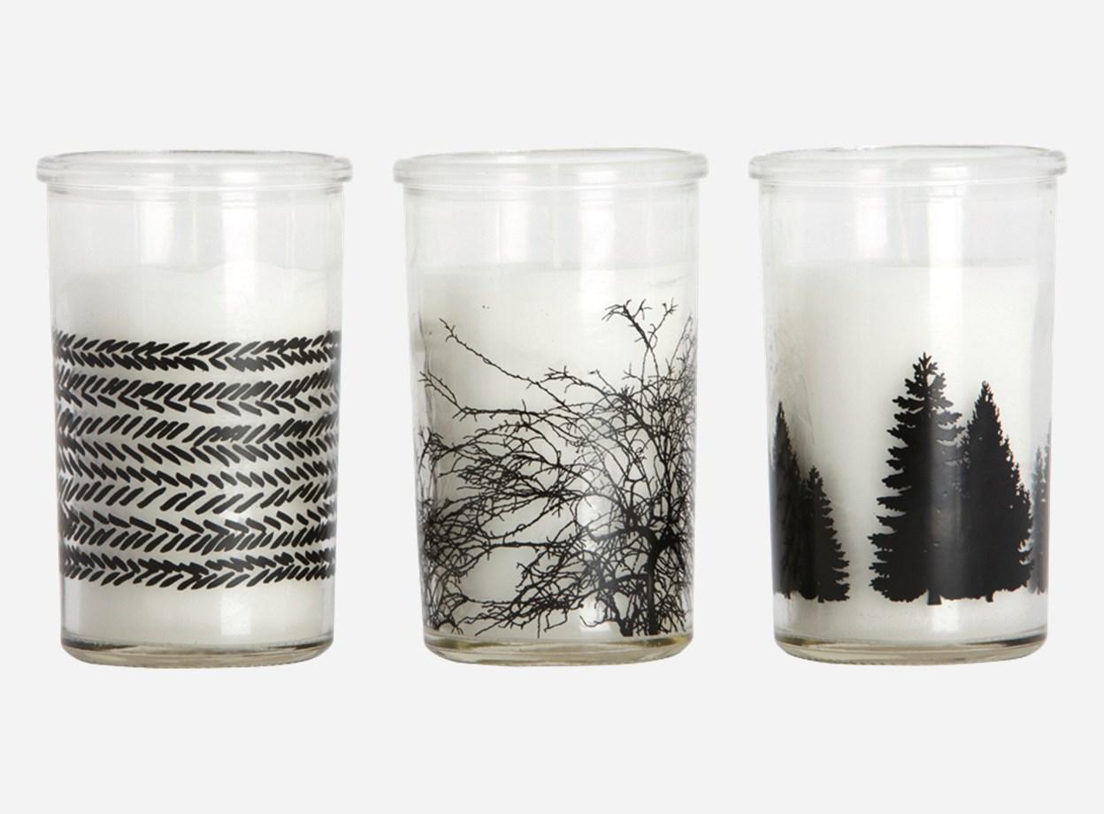 Kerzenlicht Glas mit schwarzem Musterr House Doctor